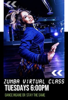 VIRTUAL ZUMBA CLASS TUESDAYS 6PM