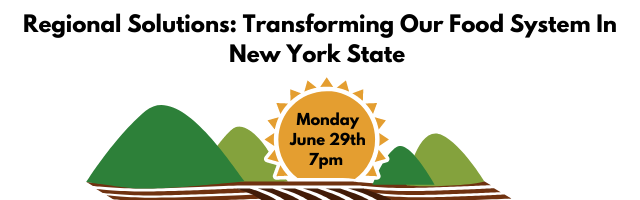 Image of sunshine and farmland which says Regional Solutions: Transforming Our Food System In New York State