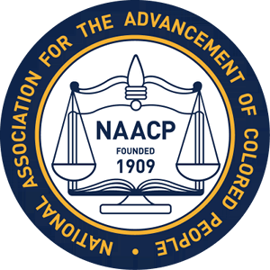 The NAACP logo, a circle with a set of balance scales inside, in blue and yellow.