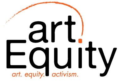 artEquity logo with black lettering, orange swish on top, and the words: art, equity, activism in orange.