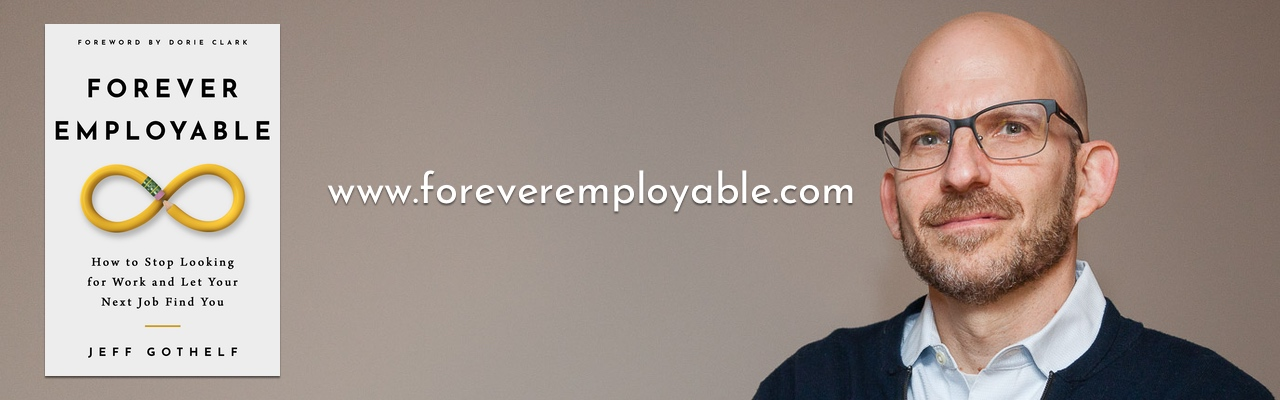 Photo of Jeff and a promotional image of his latest book, Forever Employable with a description of the book.