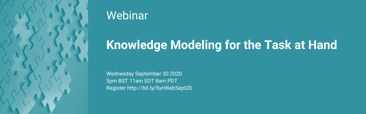 Synaptica Webinar Wednesday September 30th Knowledge Modeling for the Task at Hand