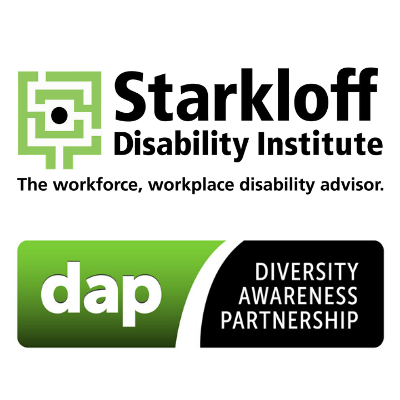 Starkloff Disability Institute Logo with a bright green S in the shape of a labyrinth above the Diversity Awareness Partnership logo, a green and black rectabgle cut through by half an arch