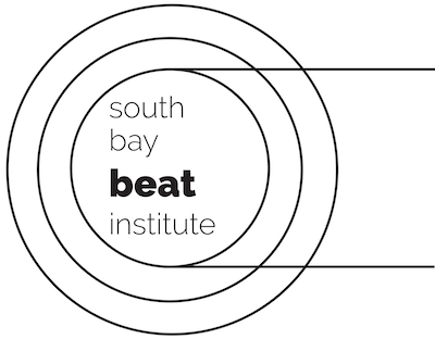 "white field with black concentric circles and text ""south bay beat institute"""