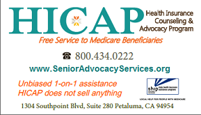 HICAP Medicare Counseling and Advocacy Program serving 6 North Bay counties.