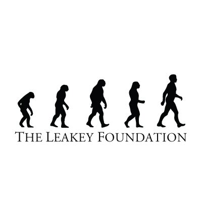 "A black and white image of human ancestors walking on top of the words ""The Leakey Foundation"""