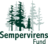 Sempervirens Fund logo with illustrated redwood trees in dark and light green
