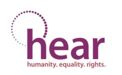 hear logo. humanity equality rights, with a graphic of the millenium wheel