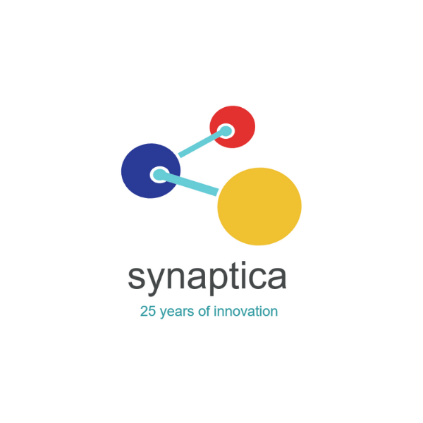Synaptica LLC logo - 3 coloured spheres connected