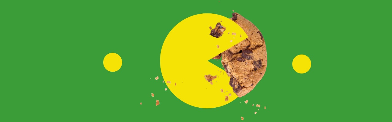 A Pacman (from the video games) eating a real cookie