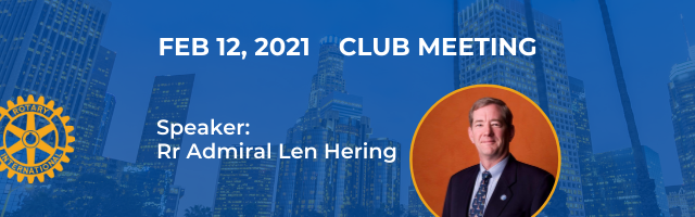 Zoom banner with photo of speaker: Rr Admiral Len Hering